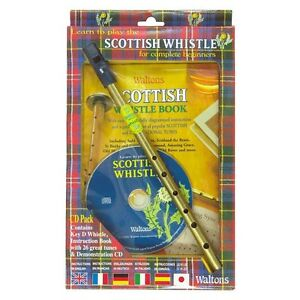 WALTONS-SCOTTISH-TIN-PENNY-WHISTLE-CD-PACK-CD-BOOK-D-WHISTLE-NEW