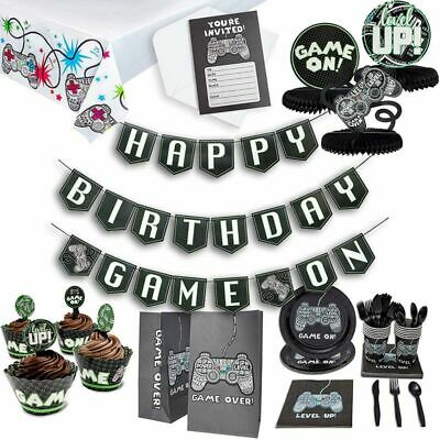 Video Game Theme Birthday Party Pack for Gamer Decoration Banner Supplies Favors