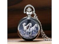 Retro fashion personality three horses pocket watch pendant