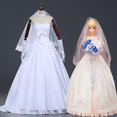 Saber Cosplay Kostüm (Fate Stay Night Zero Saber Cosplay Kostüm Abend-kleid lang Weiss Hochzeit Dress)