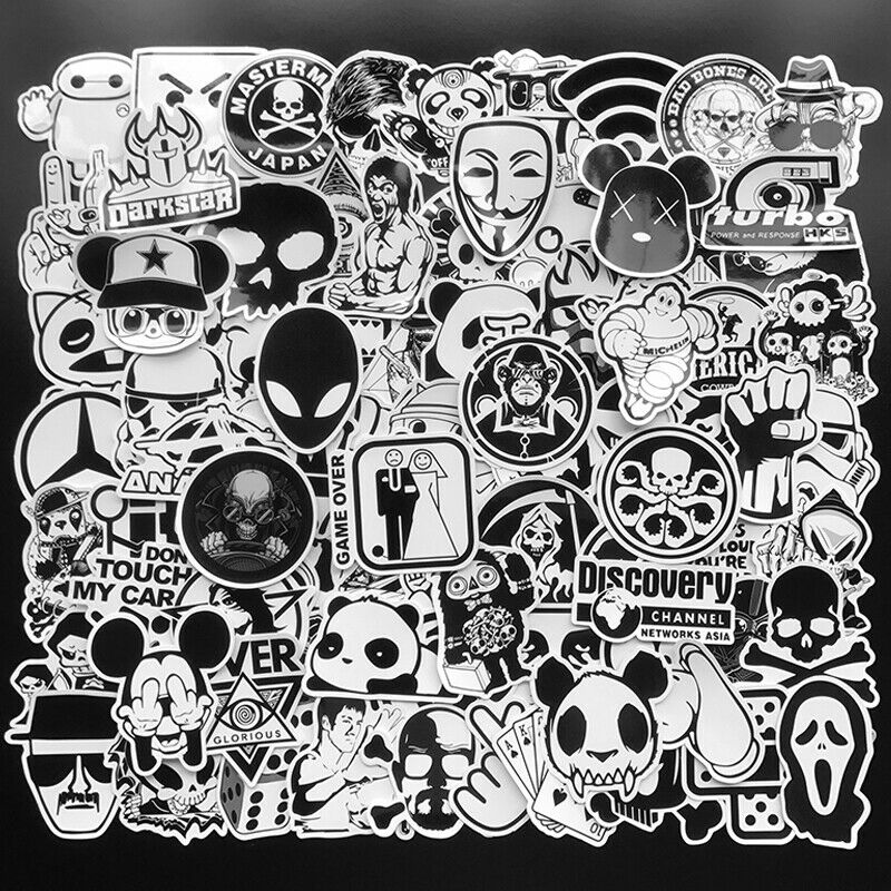 100Pcs Black White Stickers Skateboard Graffiti Laptop Luggage Car Decal Mix Lot