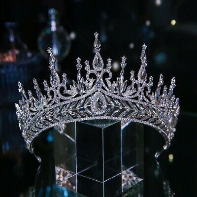 8cm High Large Full Crystal Tiara Crown Wedding Bridal Party Pageant Prom