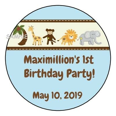 12 Jungle Safari Zoo animals birthday party stickers baby shower blue favors  (Blue Safari Baby Shower)