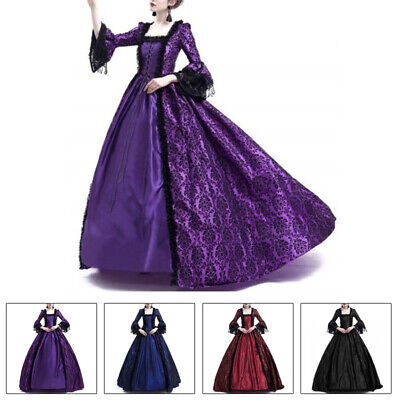 Womens Victorian Royal Retro Ball Gown Wedding Party Dress Medieval Costume](Womens Victorian Costume)