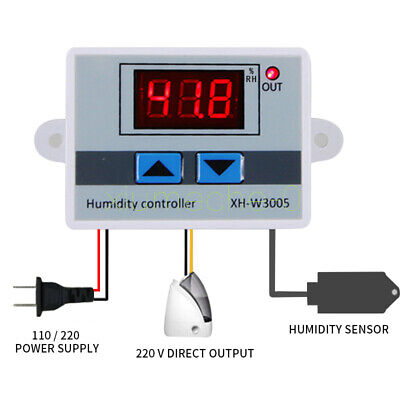 Ac 110v-220v Xh-w3005 Digital Led Humidity Controller Hygrometer Switch Sensor M