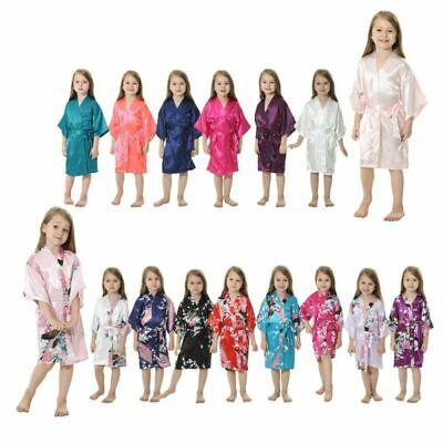 Silk Satin Kimono Robe Nightwear Flower Girls Child Wedding Gown dressing 4-12