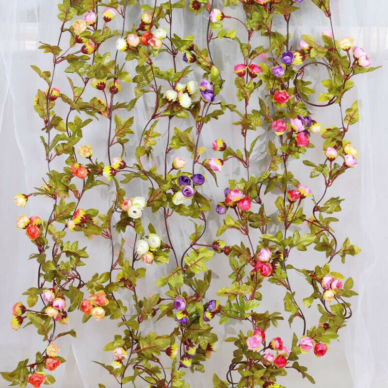 Home Decoration - 42 flowers 7Ft Artificial Fake Silk Rose Flower Hanging Garland party home decor