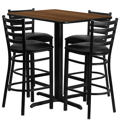 Restaurant Table Chairs 24x42 Walnut Laminate With 4 Ladder Metal Bar Stool