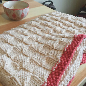 Soft hand-knit cotton baby blanket, perfect shower gift