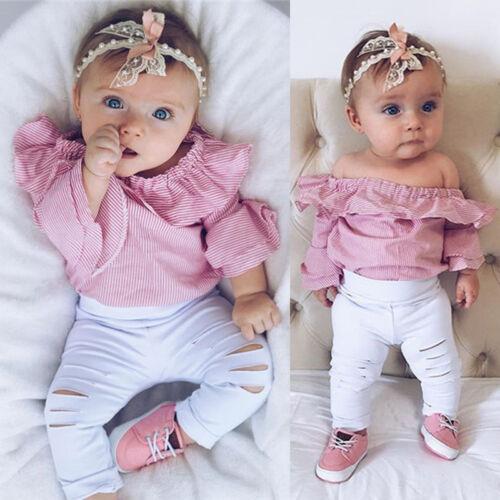 Newborn Infant Kid Baby Girl Top Romper Bodysuit Ripped Pant