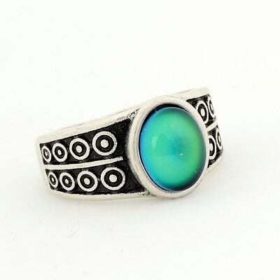 Womens Mood Oval Stone Ring Vintage Punk Style Color Change Finger Rings Mood Stone Rings