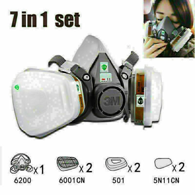 7 In 1 Half Face Mask For 6200 7502 Gas Painting Spray Protection Respirator Us