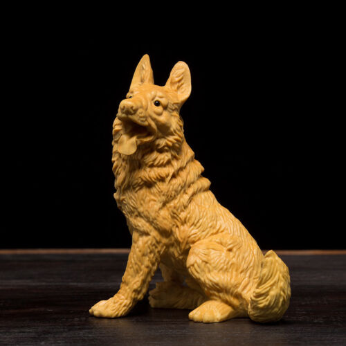 D046 - 8*4.5*6.5 CM Carved Boxwood Carving Figurine - Dog or Wolf
