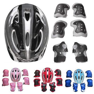 7 Stück Kinder Sport Schutzset mit Knieschoner Ellenbogenschoner Fahrrad (Kinder Schutzhelm)