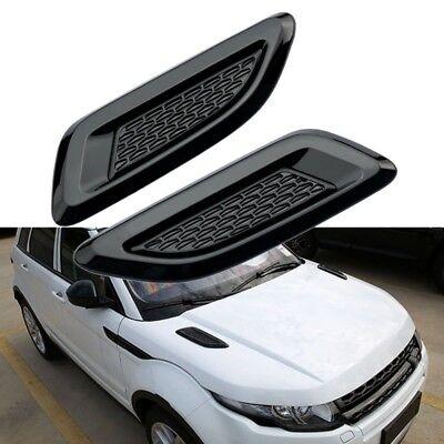 2X ABS Black Dummy Hood Vent Slat Air Wing Trim For Range Rover EVOQUE 2011-2016