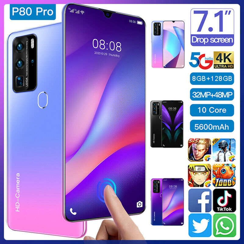 Android Phone - 7.1'' P80 PRO Smart Phone 5G-LTE Android 10.0 8GB+128GB Mobile Phone Dual SIM UK