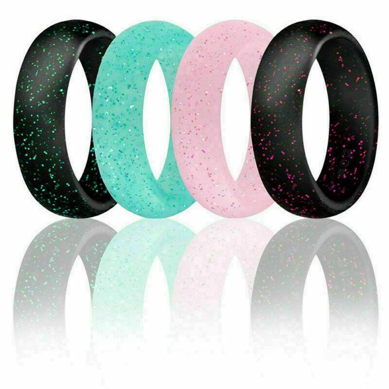 Men Women Glitter Silicone Rings Wedding Band Flexible Engagement Rubber Rings