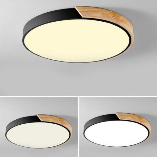 Modern LED Drum Shaped Wood Metal Acrylic Flush Mount Ceilin