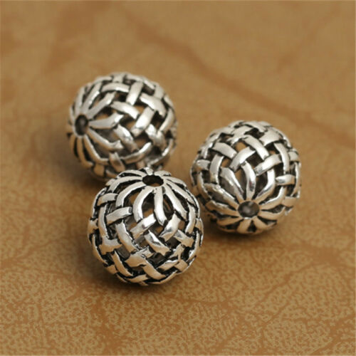 5 Sterling Silver Hollow Basket Weave Round Ball 925 Silver Bow Knot Bead Spacer