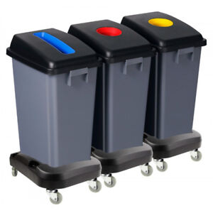 Recycling station on wheels( set of three)