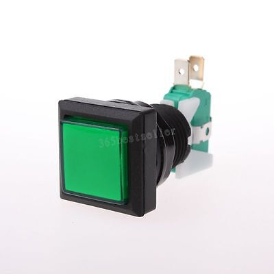 Green Square Push Button Micro Switch Led Spdt Momentary Ac 250v 3a New