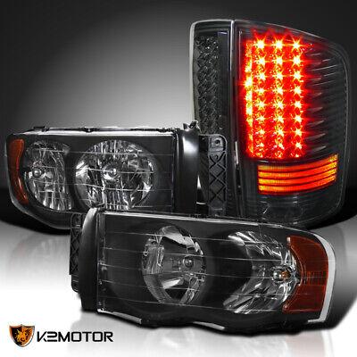 02-05 Dodge Ram 1500/2500/3500 Black Headlights Lamps Pair+Smoke LED Tail Lights
