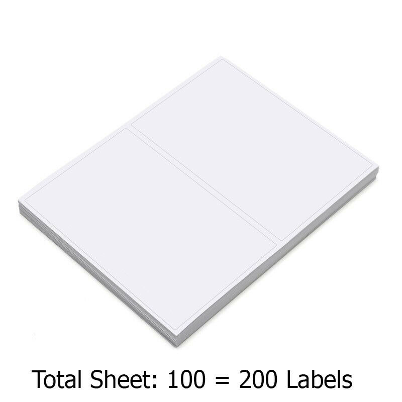 "200 Premium Self Adhesive Shipping Labels 8.5""x5.5"" 100 Shee"