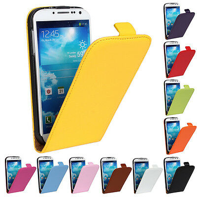 For Samsung Galaxy S4 i9500 Best New Genuine Leather Flip Case Open Up