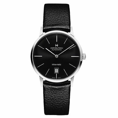 Sale Hamilton Intra Matic Black Dial Leather Mens Watch H38455731