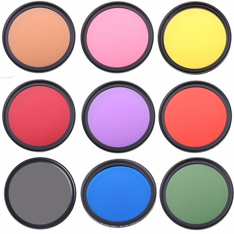 Full Color Filter For Camera Lens 49mm-77mm Green Orange Red Purple Yellow Blue