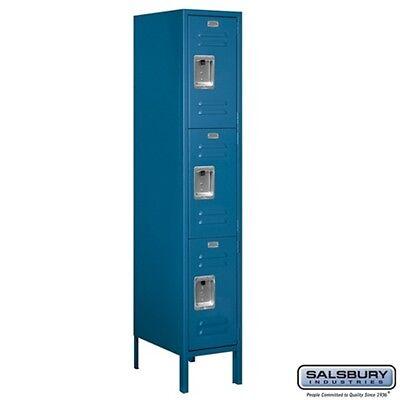 Standard Metal Locker Triple Tier 1 Wide 5 High 18 Deep Blue 63158bl-u New