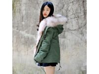 DAYMISFURRY--Wolf Fur Lined Military Parka with Raccoon Fur Hood In Pink