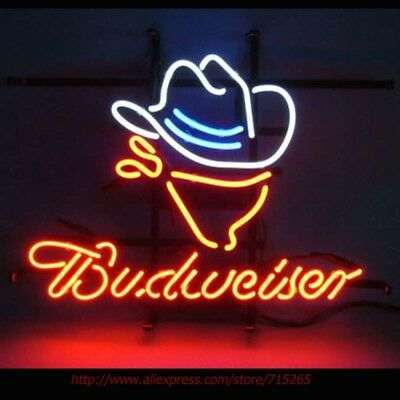 New Budweiser Cowboy Hat Neon Sign Beer Bar Gift Neon Light Sign 17