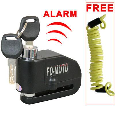 FD-MOTO Motorcycle Motorbike Disc Lock Brake Alarm Lock Black + Reminder Cable