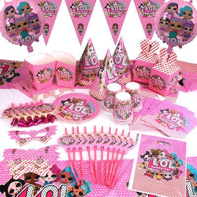 100x LOL Überraschung Geburtstagsparty Dekoration Kinder Mädchen Geschirr Teller ()