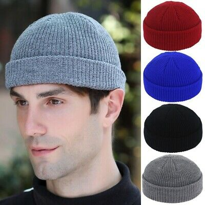 US Men Women Knitted Beanie Hat Warm Ribbed Winter Turn Ski Fisherman Docker Cap