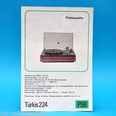 Türkis 224 Plattenspieler DDR 1976   Prospekt Werbung Werbeblatt DEWAG P58 B