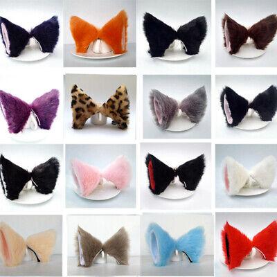Fox Ears Halloween (Popular Halloween Cat Fox Ears Headband Faux Fur Cosplay Hair Clip Party)