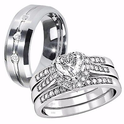 Her Sterling Silver Heart AAA CZ His Tungsten Engagement Wedding Ring Band (Heart Wedding Set)