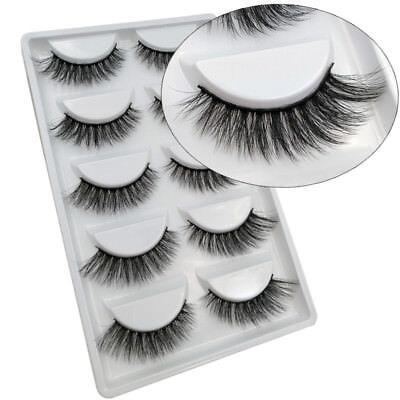 5 Pairs 100% Real Beauty Mink Fake Eyelashes 3D Natural False Lashes Makeup H6