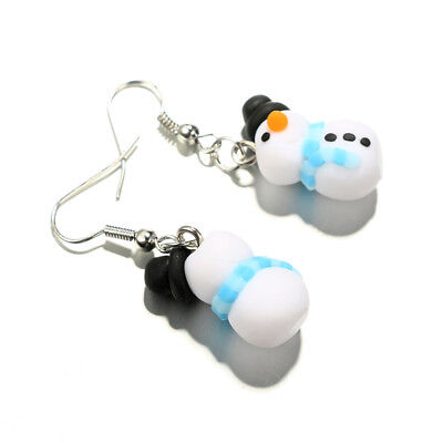 Christmas Mini Snowman Polymer Clay Women Girls Dangle Hook Earrings Jewelry