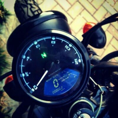 12V Universal Motorcycle Speedometer Tachometer Speedo Meter With LED Backlight
