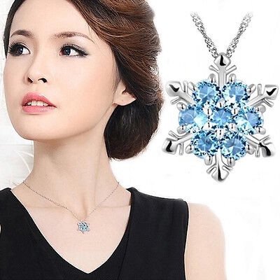 Fashion Charm Jewelry Blue Crystal Snowflake Flower Silver Necklace Pendant Gift