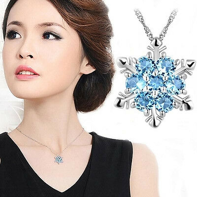 Jewellery - Fashion Charm Jewelry Blue Crystal Snowflake Flower Silver Necklace Pendant Gift