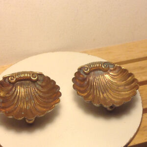 Antique Sterling Silver Gilded Clam Shell Dish
