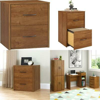 2 Drawer File Cabinet Wooden Document Storage Office Home Furniture Brown -