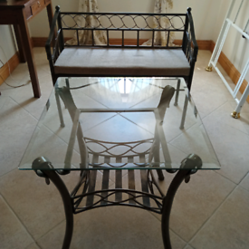 Metal frame side table and bench