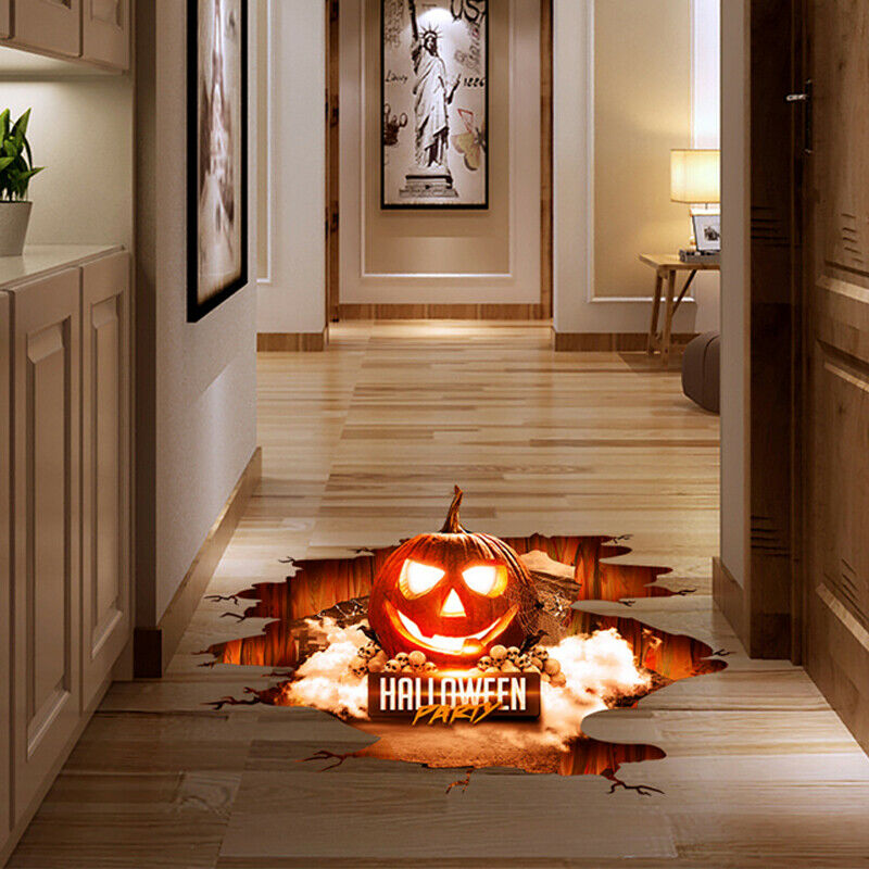 Home Decoration - Halloween Wall Sticker Removable Scary Pumpkin Haunted House PVC Decor Decals