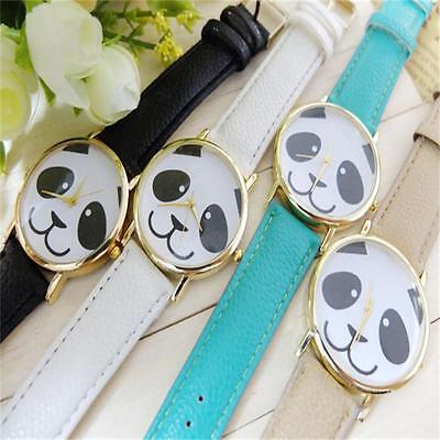 Womens Faux Leather Band Watch Fashion Panda Pattern Quartz Wrist Watch