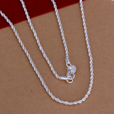 925 Silver Fashion Jewelry Flash Wrest Rope Chain Necklace 2MM 22inch NB226](Cheap Necklaces)